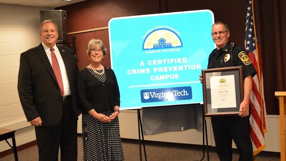 Virginia Tech is the fourth university in the commonwealth to receive the distinction in recognition of exemplary crime prevention services and initiatives.