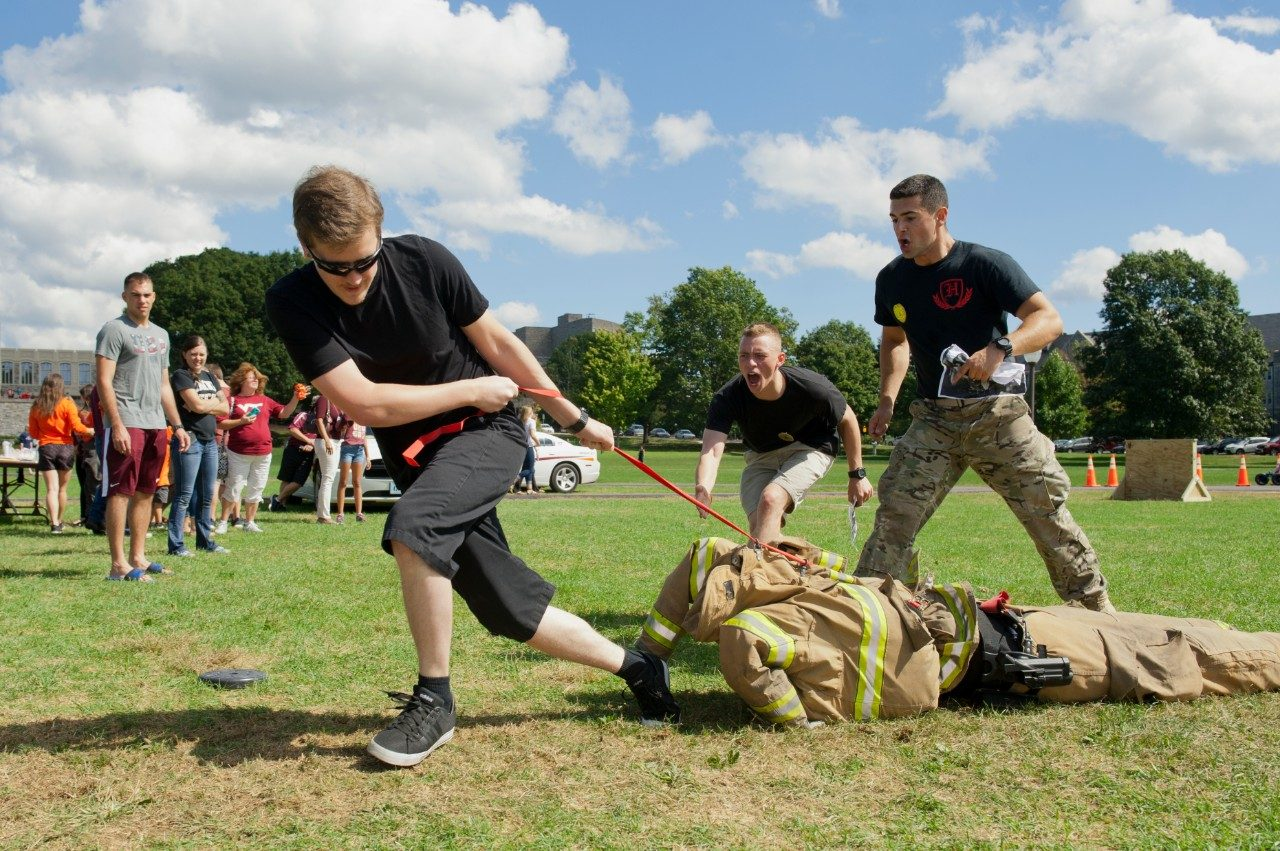 A person participates in a life-saving drill.