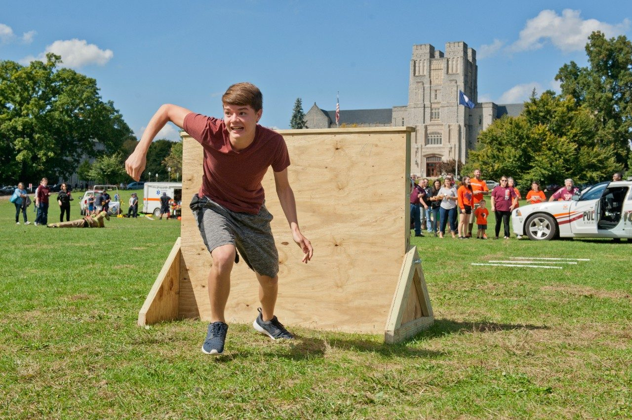 A participant navigates an obstacle course.