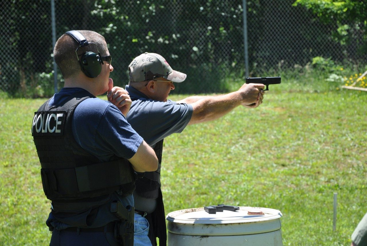 Shooting practice during Police Academy